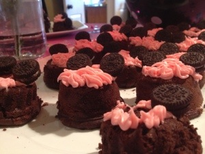 mouse-eared chocolate sour cream bundt cakes and cupcakes