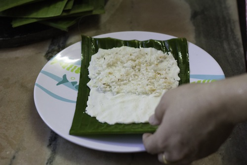 appam in banana leaf - kerala